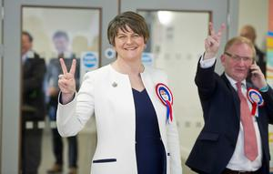 PACEMAKER PRESS 06/05/2016.  2016 Northern Ireland Assembly Election.  Votes are counted at Omagh Leisure centre as Voters took to the polls across Northern Ireland.  Pictured is DUP leader Arlene Foster with Lord Morrow.  PICTURE MARK MARLOW/PACEMAKER PRESS