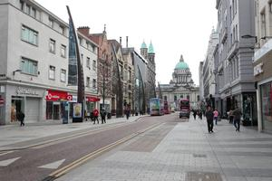 General view of Belfast City centre at lunchtime on Monday, March 23rd. Photo by Kelvin Boyes / Press Eye