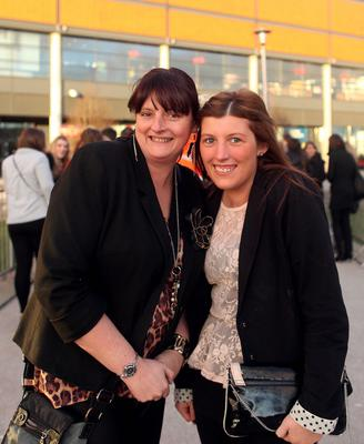 13.03.13. PICTURE BY DAVID FITZGERALD Girls Aloud Fans outside the Odyssey Arena, Belfast yesterday before the concert. Tracey Connor and Courtney Watterson