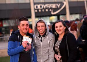 13.03.13. PICTURE BY DAVID FITZGERALD Girls Aloud Fans outside the Odyssey Arena, Belfast yesterday before the concert. Caolan Kearns, Ceven Fox and Paula Hardy