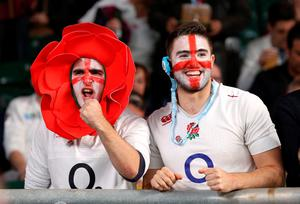 England fans in the stands before the World Cup match at Twickenham Stadium, London. PRESS ASSOCIATION Photo. Picture date: Saturday October 3, 2015. See PA story RUGBYU England. Photo credit should read: Gareth Fuller/PA Wire. RESTRICTIONS: Use subject to restrictions. Editorial use only. No commercial use. No use in books or print sales without prior permission. Call +44 (0)1158 447447 for further information.