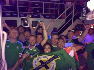 Jimmy Nesbitt parties with Darren Ryles and friends in Lyon
