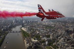 The Royal Air Force Red Arrows flying over Westminster Abbey and the Houses of Parliament (SAC Hannah Smoker/Ministry of Defence/PA)