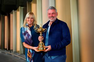 LONDON, ENGLAND - SEPTEMBER 26:  Captain of Europe, Darren Clarke and his wife Alison Clarke pose with the Ryder Cup before departing Heathrow Airport Terminal 5 ahead of the 2016 Ryder Cup on September 26, 2016 in London, England.  (Photo by Andrew Redington/Getty Images)
