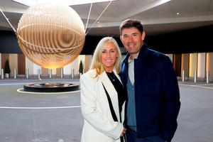 LONDON, ENGLAND - SEPTEMBER 26:  Vice-Captain of Europe, Padraig Harrington poses with his wife Caroline Harrington before departing Heathrow Airport Terminal 5 ahead of the 2016 Ryder Cup on September 26, 2016 in London, England.  (Photo by Andrew Redington/Getty Images)