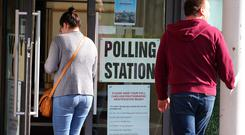 Voting begins across Northern Ireland in the local council elections. Voters pictured at the polling station at Newtownbreda Baptist Church in south Belfast.