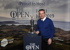 Press Eye - Belfast -  Northern Ireland - 31st January 2019 - Photo by William Cherry/Presseye  Guests had the opportunity to get their picture taken with the Claret Jug as Tourism NI marked the start of the official build up to The 148th Open at Royal Portrush with a celebration of Northern Irish talent from sport, music, arts and screen at Titanic Belfast. Pictured is Geoff Wilson. Visit https://youtu.be/KPPKRrsR-js to watch the cinematic film ÔWeÕve come a long wayÕ which was premiered on the night.   Photo by William Cherry / Press Eye.