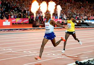Number one: Great Britain's Mo Farah wins the 10,000m at the World Championships at the London Stadium last night
