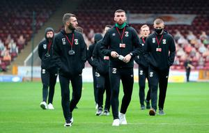 Glentoran players walk the pitch prior to the UEFA Europa League qualifying first round match at Fir Park, Motherwell. PA Photo. Picture date: Thursday August 27, 2020. See PA story SOCCER Aberdeen. Photo credit should read: Andrew Milligan/PA Wire