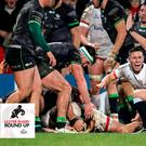 Ulster scrum-half John Cooney celebrates a try against Connacht