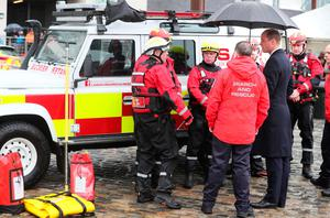 The Duke of Cambridge sees the work of Lagan Search and Rescue, a rescue and lifeboat service that covers the Belfast Harbour Estate, River Lagan and the estuarial waters of Belfast Lough, in the Titanic Quarter, as part of his tour of Belfast. PRESS ASSOCIATION Photo. Picture date: Wednesday October 4, 2017. Brian Lawless/PA Wire