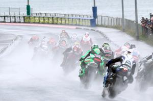 PACEMAKER BELFAST 17/04/2014 The superbikes kick up some serious spray during todays races at the 2014 Vauxhall International North West 200 on the North Coast. Photo Stephen Davison/Pacemaker