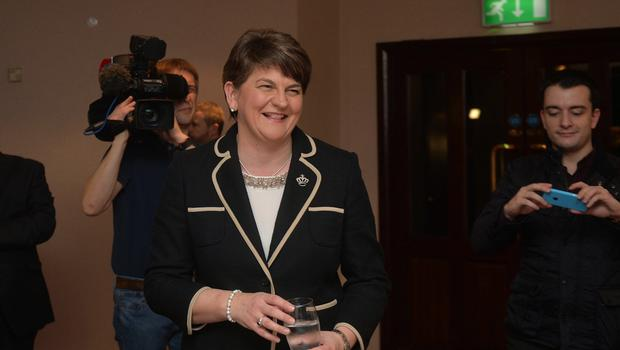 PACEMAKER BELFAST 17/12/2015  Arlene Foster (DUP) attends a  meeting at the Park Avenue Hotel  in east Belfast on Thursday evening, As the DUP set to confirm Arlene Foster as their new party leader. Ms Foster is the only name that has been put forward for the consideration and will be the first woman to take up the post. It comes after current party leader Peter Robinson announced his decision to retire in the wake of the Fresh Start agreement reached at Stormont last month. Photo Colm Lenaghan/Pacemaker Press