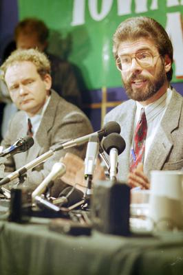PACEMAKER BELFAST   archive  2/12/1993     1148/93 Sinn Fein leaders Gerry Adams & Martin McGuinness at press conference at Conway Mill where they spoke of secret negotiations with the British Government on a peace process.