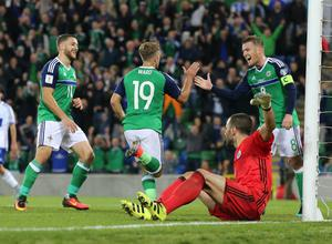 Pacemaker Belfast 8-10-16 Northern Ireland v San Marino - World Cup Qualifier Northern Ireland's Jamie Ward celebrates his goal during this evenings game at the National Stadium, Belfast.  Photo by David Maginnis/Pacemaker Press