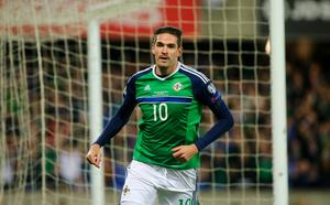 Picture - Kevin Scott  / Press Eye  Northern Ireland's Kyle Lafferty scores in action during the 2018 FIFA World Cup Qualifier and opening game at the newly developed National Stadium - Windsor Park on 8th October 2016 , Belfast , Northern Ireland  Photo by Kevin Scott  / Press Eye