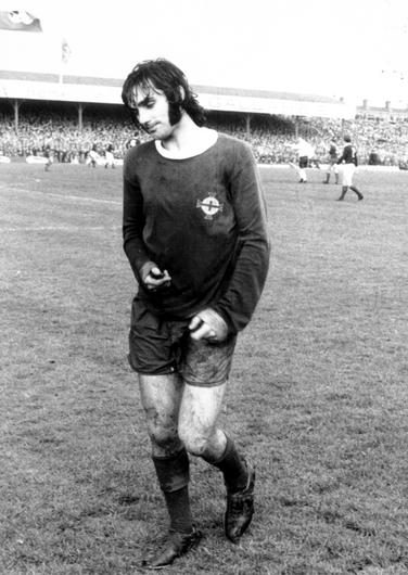 Memories: George Best trudges off the pitch after being sent off against Scotland