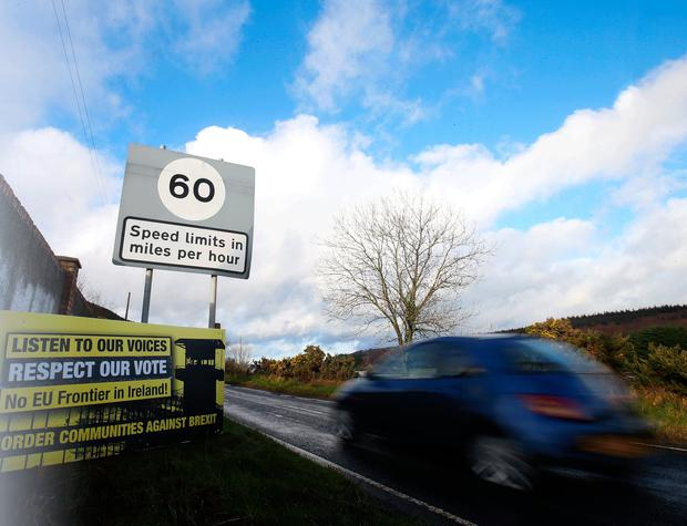 A Brexit protest sign on the border