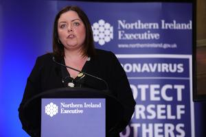 Deirdre Hargey, Minister for Communities during the daily media broadcast in the Long Gallery at Parliament Buildings, Stormont on Wednesday. Photo by Kelvin Boyes / Press Eye.