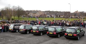 Funeral of Derry family who drowned in Buncrana Co Donegal pier accident. Picture Margaret McLaughlin