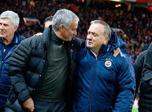 Manchester United manager Jose Mourinho (left) greets Fenerbahce manager Dick Advocaat before the UEFA Europa League match at Old Trafford, Manchester. PA