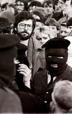 Pacemaker Bfst Ltd  archive Gerry Adams File pic of him at an IRA Funeral  in Derry .