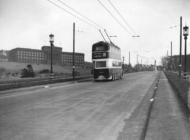 Stormont, painted black with pitch to camouflage it.Trolley bus no. 26. Belfast.  26/3/1942 BELFAST TELEGRAPH ARCHIVE/NMNI