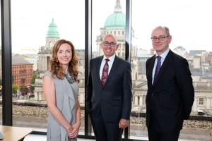 Vicky Davies with chief executive Kevin Kingston and fellow deputy chief executive, Stephen Matchett