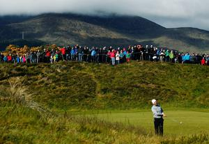 Ireland's Padraig Harrington watches his second shot on the 13th during day two of the Dubai Duty Free Irish Open at Royal County Down Golf Club, Newcastle. PRESS ASSOCIATION Photo. Picture date: Friday May 29, 2015. See PA story GOLF Irish. Photo credit should read: Brian Lawless/PA Wire. RESTRICTIONS: Editorial use only. No commercial use. No false commercial association. No video emulation. No manipulation of images.