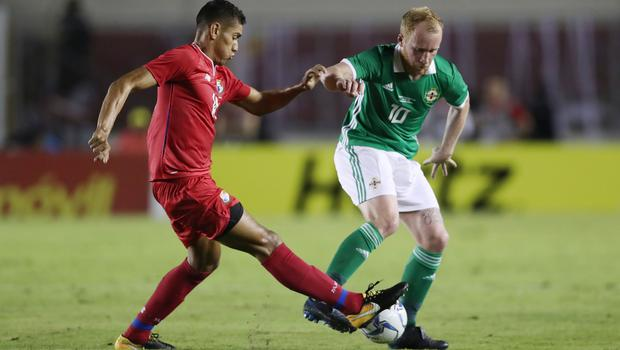 Press Eye - Belfast -  Northern Ireland - 29th May 2018 - Photo by William Cherry/Presseye  Panama's Valentn Pimentel with Northern Ireland's Liam Boyce during Wednesday nights International Friendly at the Estadio Rommel Fernandez, Panama City.