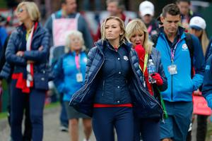 CHASKA, MN - SEPTEMBER 30:  Paulina Gretzky looks on during morning foursome matches of the 2016 Ryder Cup at Hazeltine National Golf Club on September 30, 2016 in Chaska, Minnesota.  (Photo by Streeter Lecka/Getty Images)