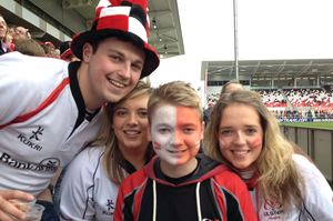 Ulster Rugby fans at Ravenhill for the Heineken Cup quarter-final between Ulster and Saracens, Saturday 5 April 2014.