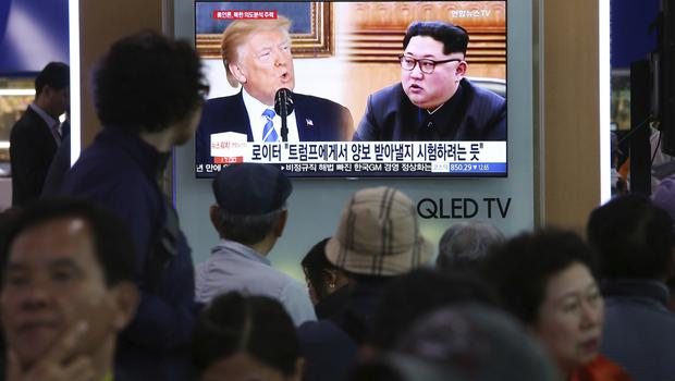 Donald Trump and Kim Jong Un are scheduled to meet in Singapore in June (Ahn Young-joon/AP)