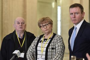 Breege and Stephen Quinn, parents murdered man Paul Quinn at Stormont on Monday for talks with political parties. Pic Colm Lenaghan/Pacemaker