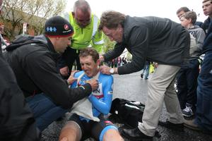 Irish rider Dan Martin crashed out of the Giro d'Italia on the lower Newtownards Road during the team time trial. He was taken immediately to hospital and treated for a suspected broken shoulder. Photo Darren Crawford/Pacemaker Press