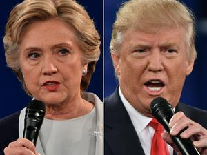 Democratic presidential nominee Hillary Clinton and Republican presidential nominee Donald Trump. AFP/Getty Images