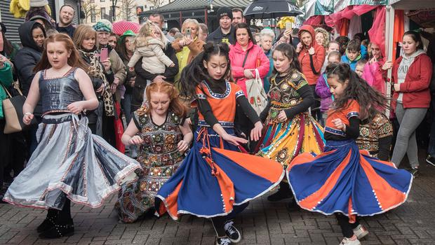 Members of Strabane Ethnic Community Association who took part in the St. Patrick's Day Spring Carnival parade in Strabane. Picture Martin McKeown. Inpresspics.com. 17.03.19