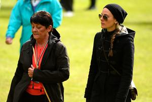 STRAFFAN, IRELAND - MAY 20:  Rory McIlroy of Northern Ireland's mother Rose and Fiancee Erica Stoll follow his group during the second round of the Dubai Duty Free Irish Open Hosted by the Rory Foundation at The K Club on May 20, 2016 in Straffan, Ireland.  (Photo by Ross Kinnaird/Getty Images)