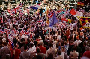 The audience enjoying the BBC Last Night Of The Proms, at the Royal Albert Hall (PA)