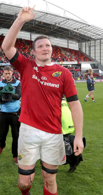 Last stand: Donnacha Ryan, who is moving to Racing after the PRO12 final, salutes the Thomond Park crowd