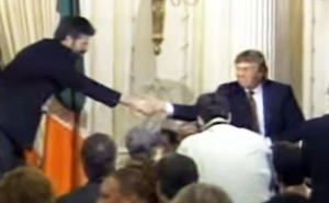 Gerry Adams greets Donald Trump at a Sinn Féin fundraising dinner in New York in November 1995