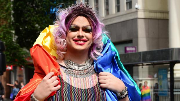 Pacemaker Press Belfast 06-08-2016: Belfast Pride Festival 2016. Belfast awash with rainbow colours as the annual LGBT festival returns. Thousands of people take part in the annual Belfast Gay Pride event in Belfast city centre celebrating Northern Ireland's LGBT community.  Picture By: Arthur Allison/Pacemaker Press.