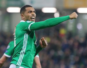 Press Eye Belfast - Northern Ireland 24th March 2019  European Championship 2020 Qualifying Round at the National Stadium at Windsor Park, Belfast.  Northern Ireland Vs Belarus.  Northern Ireland's Josh Magennis celebrates after he scores to make it 2-1.   Picture by Jonathan Porter/PressEye.com