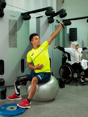Takashi Sanada of Japan works out in the gym at the Paralympic Village during the Paralympic Games in Rio de Janeiro, Brazil, on September 6, 2016. Photo by: Thomas Lovelock for OIS/IOC via AFP. RESTRICTED TO EDITORIAL USE. / AFP PHOTO / OIS/IOC / Thomas Lovelock for OIS/IOCTHOMAS LOVELOCK FOR OIS/IOC/AFP/Getty Images