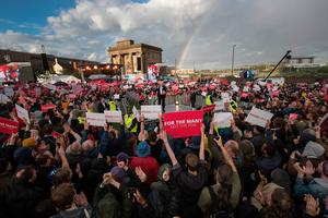 BIRMINGHAM, ENGLAND - JUNE 06:  A rainbow appears as Labour Leader Jeremy Corbyn delivers a speech during an open air rally in New Canal Street on June 6, 2017 in Birmingham, United Kingdom. Political parties continue to campaign across the country ahead of the general election on Thursday.  (Photo by Christopher Furlong/Getty Images)