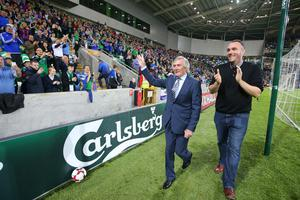 Press Eye - Belfast - Northern Ireland - 8th October 2016 -   The National Football Stadium at Windsor Park Opening Game and Ceremony  Northern Ireland vs San Marino 2018 FIFA World Cup Qualifier  Pat Jennings and Michael Boyd pictured at the official opening ceremony.  Photo by Kelvin Boyes / Press Eye