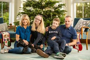 Tara Mills at home with husband Danny and children Daniel and Aimee