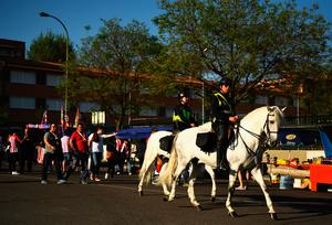 MADRID, SPAIN - APRIL 12: Police horses are seen as fans make their way to the ground ahead of the UEFA Champions League Quarter Final first leg match between Club Atletico de Madrid and Leicester City at Vicente Calderon Stadium on April 12, 2017 in Madrid, Spain.  (Photo by David Ramos/Getty Images)