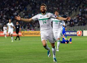 What about that: Northern Ireland's Stuart Dallas celebrates scoring what could turn out to be a crucial goal on Northern Ireland's road to Russia