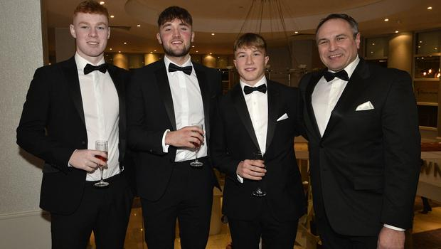 Press Eye - Belfast - Northern Ireland - 20th January  2020  Nathan Doak,Ben Carson,Lewis Nelms and Chris Nelms pictured at the 2019 Belfast Telegraph Sport Awards at the Crowne Plaza Hotel in Belfast. Photo by Stephen Hamilton / Press Eye.
